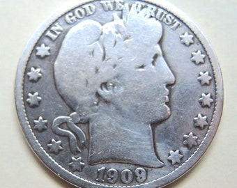 1909-S Barber Silver Half Dollar,  FREE Shipping
