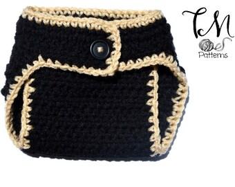 CROCHET PATTERN Diaper Cover, Bear Diaper Cover, Black Bear Diaper Cover, Pom Pom Tail, Newborn Crochet Pattern, Baby Crochet, DIY Baby Gift