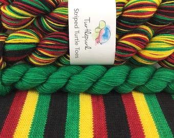 Rasta - With Green Heel & Toe - Hand-Dyed Self-Striping Sock Yarn