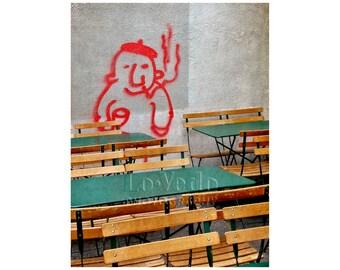 Paris Street Art, French Wine, Sidewalk Cafe, Travel Photography, Fun Home Decor, French Beret, Grafitti Photography