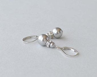 Gray Pearl Earrings, Silver and Pearl Drop Earrings, Grey Pearl Jewelry, Bridesmaid Jewelry, Simple Earrings, Wedding Party Gift, Swarovski