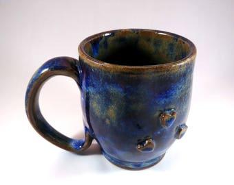 heart mug, coffee mug, heart coffee mug, tea mug, tea cup, tea mug, three hearts mug, three hearts, pottery mug, pottery