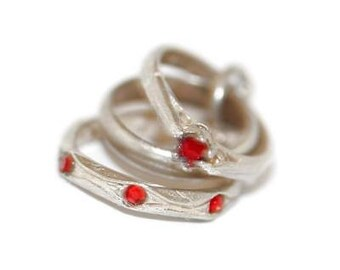Vintage Three Baby Mini Rings Sterling Silver Bracelet Charm Crystal Set