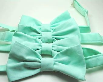 Mint Bow Ties, Freestyle Bow Ties, Mens Bow Ties, Wedding Bow Ties, Custom Bow Ties