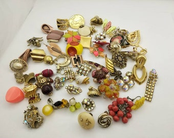 Orange and Golds  Single Earrings lot of 63 some signed Earrings Lot of Mixed Styles Destash Harvest Repair