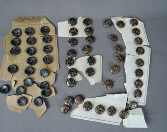 56 Vintage Buttons, Antique early 1900s Foil Glass Resin Button Lot, 3 styles