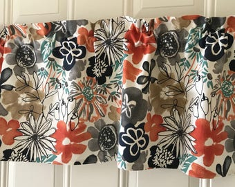 Tan With Black Orange Teal Flowers Curtain Valance