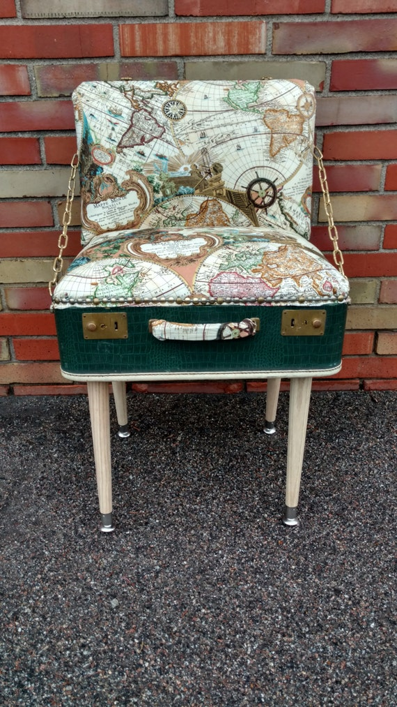 Map Print Suitcase Chair