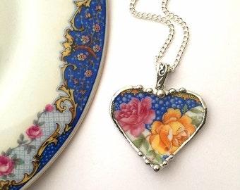 Broken china jewelry -  rose heart pendant - pink yellow roses -  broken china jewelry heart pendant necklace