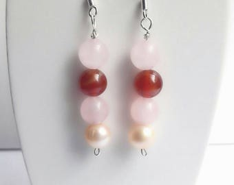 Earrings Rose Quartz, Carnelian and Freshwater Pearl, 925 sterling silver. Earrings stones silver and natural.