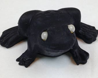 1980s - Handmade - Black Coal Frog Figurine - RARE - Faux Pearl Eyes - 2""