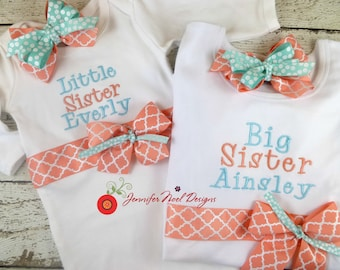 Personalized Sibling shirt set, Baby sister outfit, Big Sister Outfit, infant onepiece, baby hospital gown, personalized bring home outfit