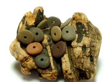 River Rock TIMBUKTU Beach Pebble Rounds Donuts Stone Natural Lake Finds Supplies diy Jewelry Beading Dark Woods Palette