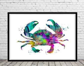 Crab, Ocean art, sea life, kids room decor, nursery art, watercolor, crab print, watercolor crab, home decor, crab art, sea print (2070b)
