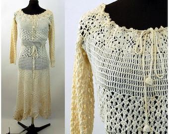 Vintage crocheted dress cotton lace peasant dress drawstring waist boho hippie dress  Size M
