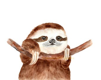 Sloth Print, Watercolour Sloth, Baby Sloth Print, Cute Sloth Art, Sloth Illustration, Boys Room Decor
