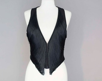Short Black Vest with Fringes