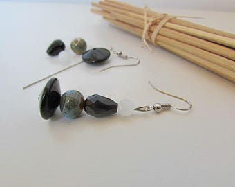 Kit hook earring in silver - ceramic glass - 5.5 cm - 160