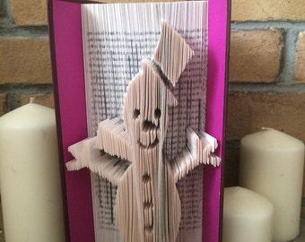 Snowman Book Fold Art