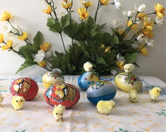 1980's Tin Litho Easter Egg Candy Containers