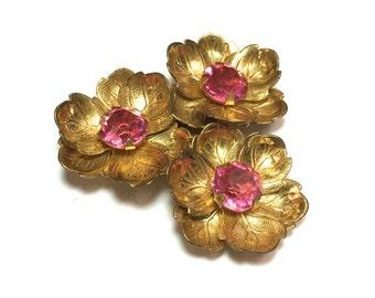 30s Pink Flower Dress Clip | Brass Flower Dress Clip