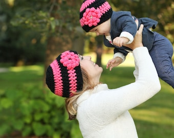 Mother Daughter Black and Coral Striped Hand Crocheted Hat Set