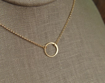 Small gold circle link and gold filled necklace, tiny circle necklace, infinity necklace, simple gold necklace, gold ring, mother's day