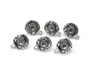 x 10 studs earrings silver antique 16.5 mm SO06