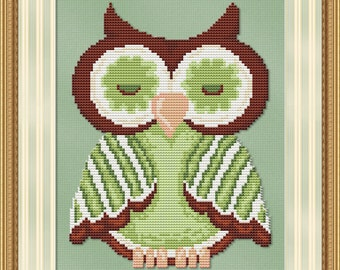 Cross Stitch Pattern Green Hoot Owl Bird Instant Download PdF