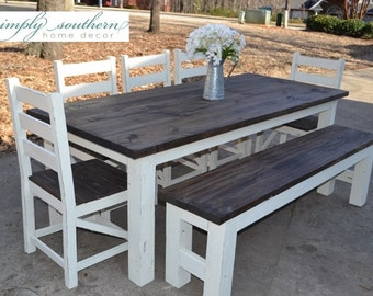 Farmhouse Table w/ Square 4 x 4 Legs (Custom Built)