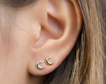 Tiny Moon Earrings, Sterling Silver, Gold Plated, Moon Stud Earrings, Minimalist Post Earrings, Lunaijewelry, Handmade, Prom Gift, STD052