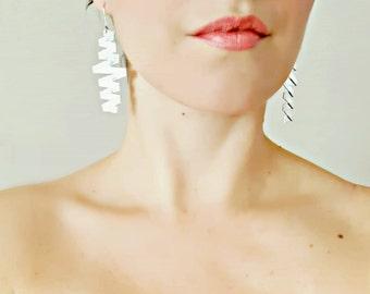 Dangle earrings Statement earrings Popular earrings Contemporary silver earrings Long earrings Gift Modern earrings Zig zag earrings