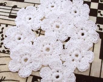Crochet White Flower Appliques|6 Petal