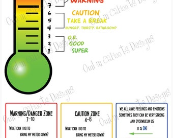 Feelings Thermometer chart-DIGITAL DOWNLOAD-behavior,visual schedule,ASD,anger management,autism,adhd,emotions