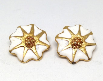 Gorgeous Vintage Estate White Enamel Gold Star Flower Gold Tone Pierced Earrings Christmas Present - Holiday Gift