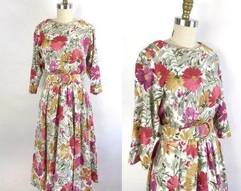M-XL • 1990s • Alison J Petite Floral Dress with Belt