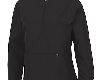 Monogrammed Women's Pullover Wind and Rain Jacket Black