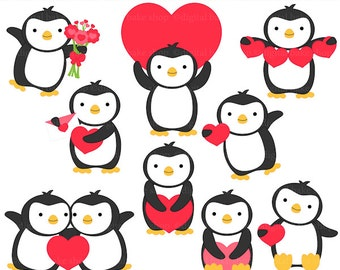 penguin valentine clip art digital clipart - Valentine Penguins Digital Clip Art - BUY 2 GET 2 FREE