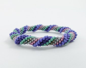 Bead Crochet Rope Bangle, Spiral Design in Periwinkle, Pink, Navy, Silver Grey and Sea Green - Item 1545