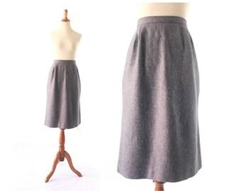 Grey Skirt / 80s Wool Skirt / Grey Wool Skirt /  medium large High Waist Skirt / Gray Skirt / Women Bottom Skirt / Vintage Clothing Skirt