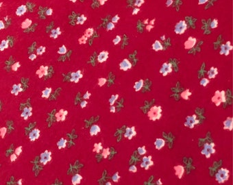 Red Floral Vintage FLANNEL Fabric by the Yard