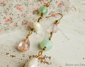 Shabby mismatched earrings / repurposed earrings / upcycled earrings / vintage beads / long dangle earrings / shabby earrings / repurposed