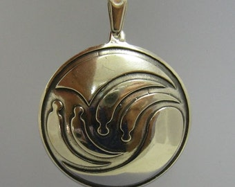 PE000800 Sterling silver pendant solid 925 Circle