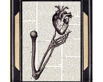 ANATOMICAL HEART in Skeleton Hand art print on vintage text book page human anatomy medical love humor humorous surreal illustration 8x10