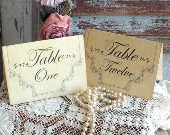 Vintage Romantic Pinstripe Wedding Table Number Cards Handmade by avintageobsession on etsy