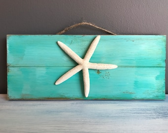 Starfish Accent, Beach Decor, Home Decor, Wood Sign, Wall Hanging