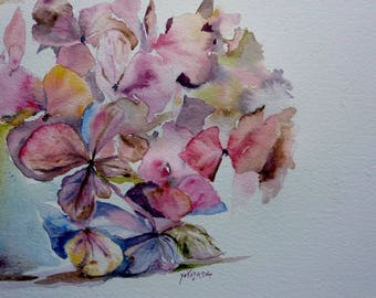 watercolor a few flowers, horthensias