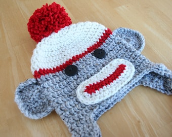 Sock monkey hat, child sock monkey hat, crochet monkey hat, red cream and gray, winter hat for kids, 5t to Preteen sizes available