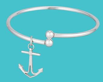 Anchor Bangle Bracelet - Sterling Silver