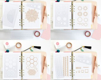 5 Stencils Bullet Journal Stencil starter kit 3.5 x 6 Bujo  Planner Accessories FiloFax Erin Condren Midori Level 10 Life Beehive • SET 12A